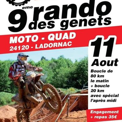 Rando moto et quad de l'Association Lez'enra'g, Rando de Genets de Ladornac (24) le 11 août 2019