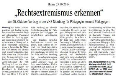 Harke 6.10.15 -- in VHS Nienburg 15.0.14 : Nazis erkennen für PädagogInnen