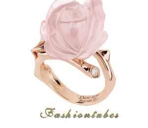 bague fleur quartz rose or