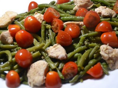 Salade haricots verts poulet tomates cookeo
