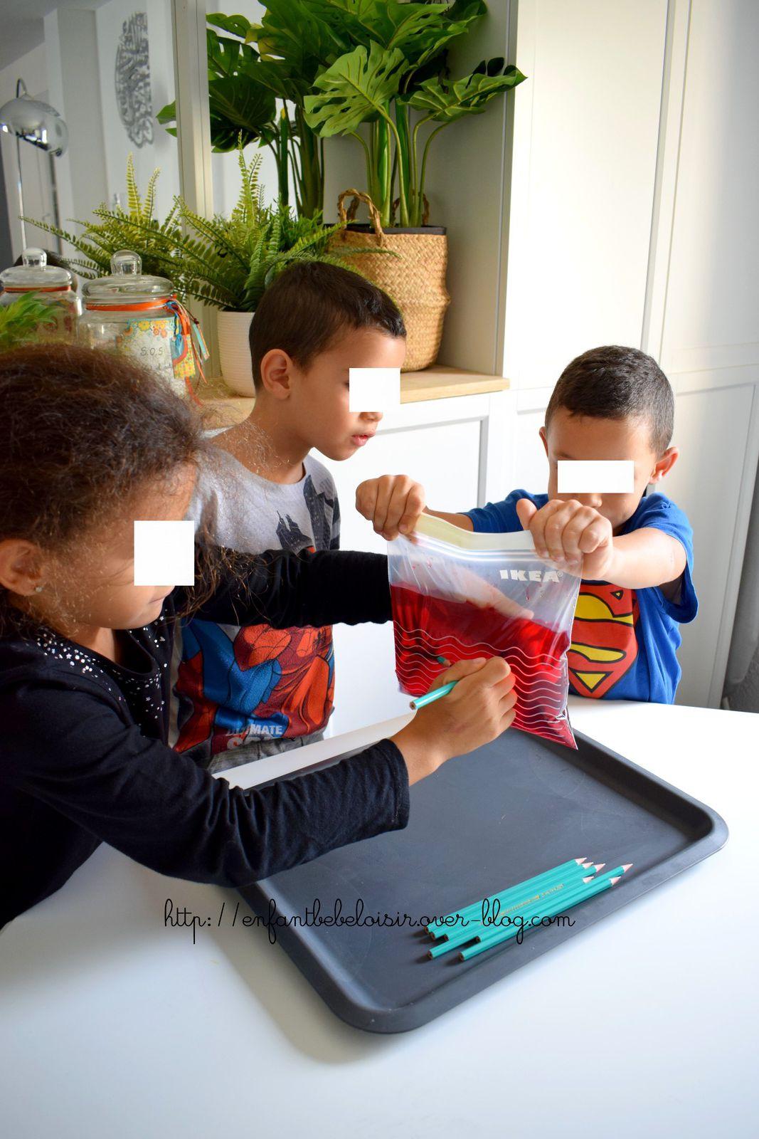 Expérience scientifique enfant du sac d'eau percé