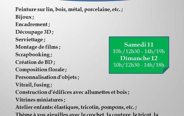 PARTAGE DES LOISIRS CREATIFS 11 et 12 avril à Lamorlaye