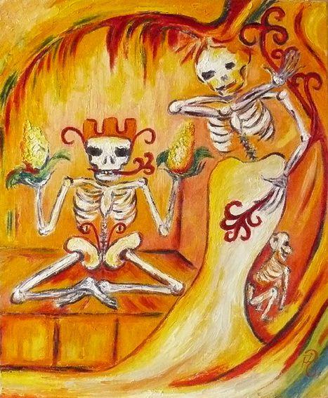Je vois la mort un peu à la manière des Mexicains, très en couleur, côté yang (chaud), en mouvement, parée d'une lumière qui me la rend proche. Je la sais vivre en moi.  Huiles/toile     ©Adamante
