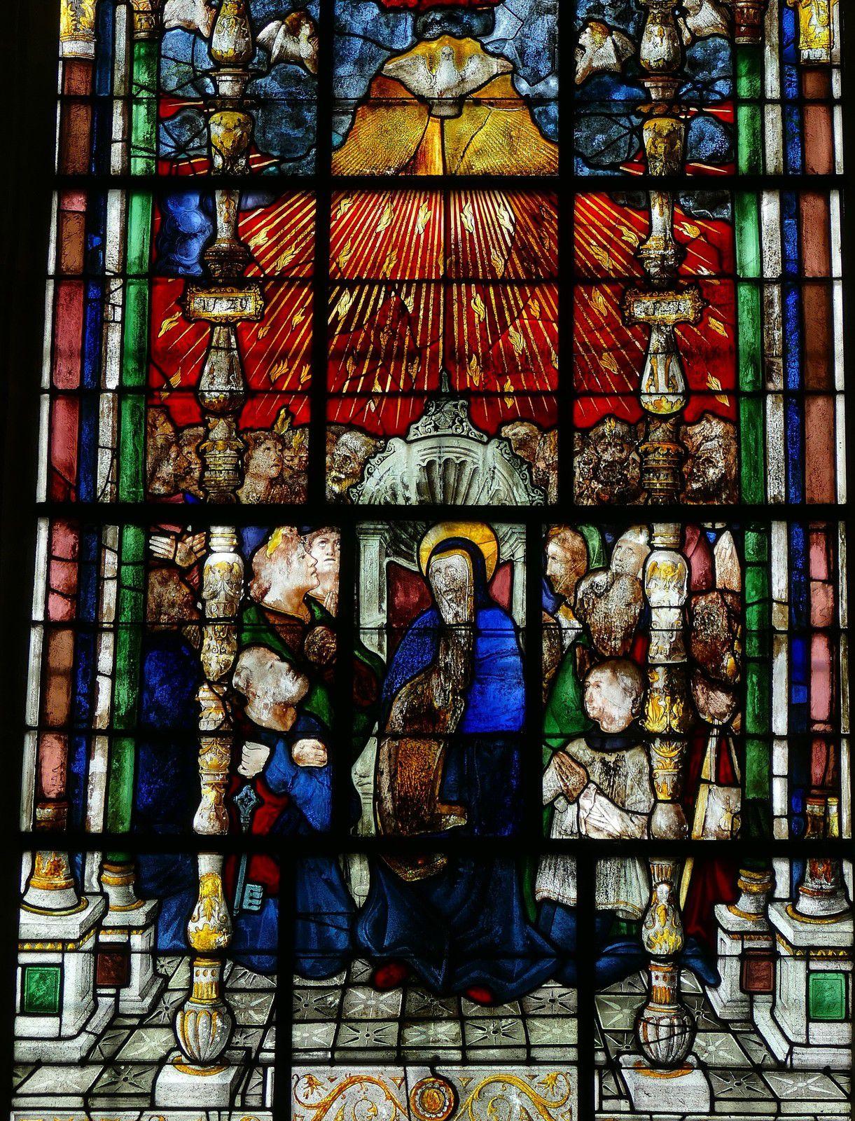 Baie 8 de la Pentecôte (Jehan Adrian, 1529) de l'ancienne collégiale de Champeaux. Photographie lavieb-aile août 2020 .