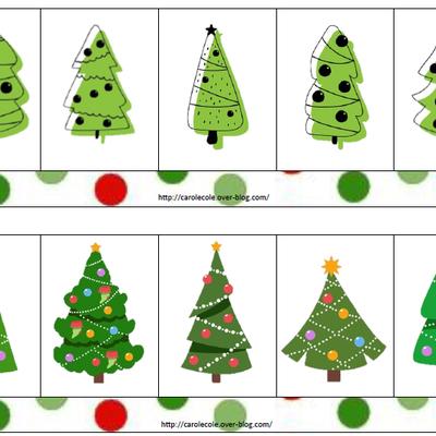 Discrimination visuelle sapins et boules de Noël