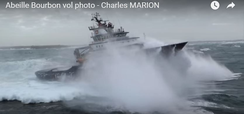 VIDEO - extraordinary film of the Abeille Bourbon tug and offshore support vessel in the storm