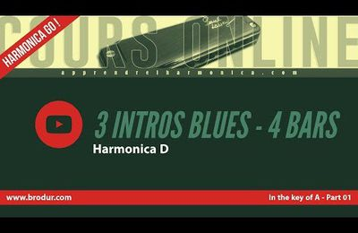 3 intros blues in the key of A (part 01) - DEMO - 4 bars - Harmonica D