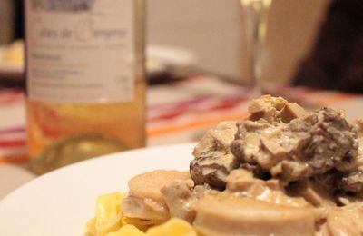 Fricassée de boudin blanc, sauce au foie gras et morilles