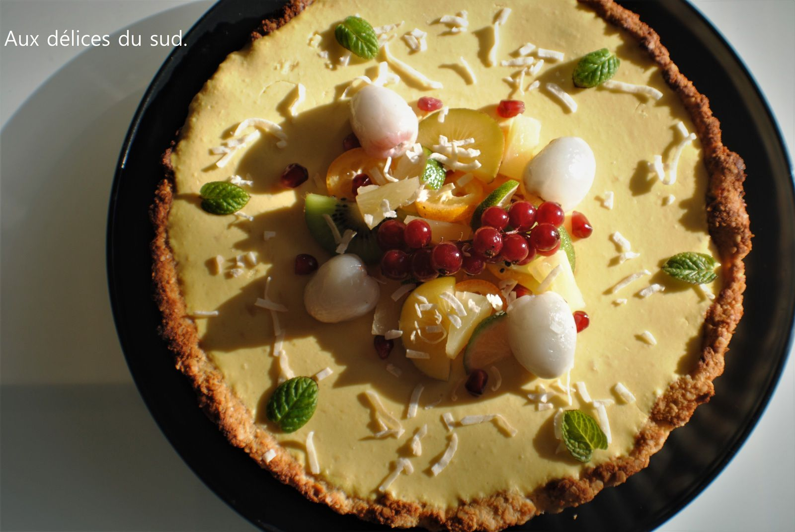Tarte exotique à la mangue .
