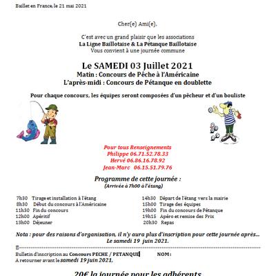Inscription Pêche / Pétanque 2021