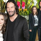Winona Ryder cuddles up to Keanu Reeves at photo call in Beverly Hills