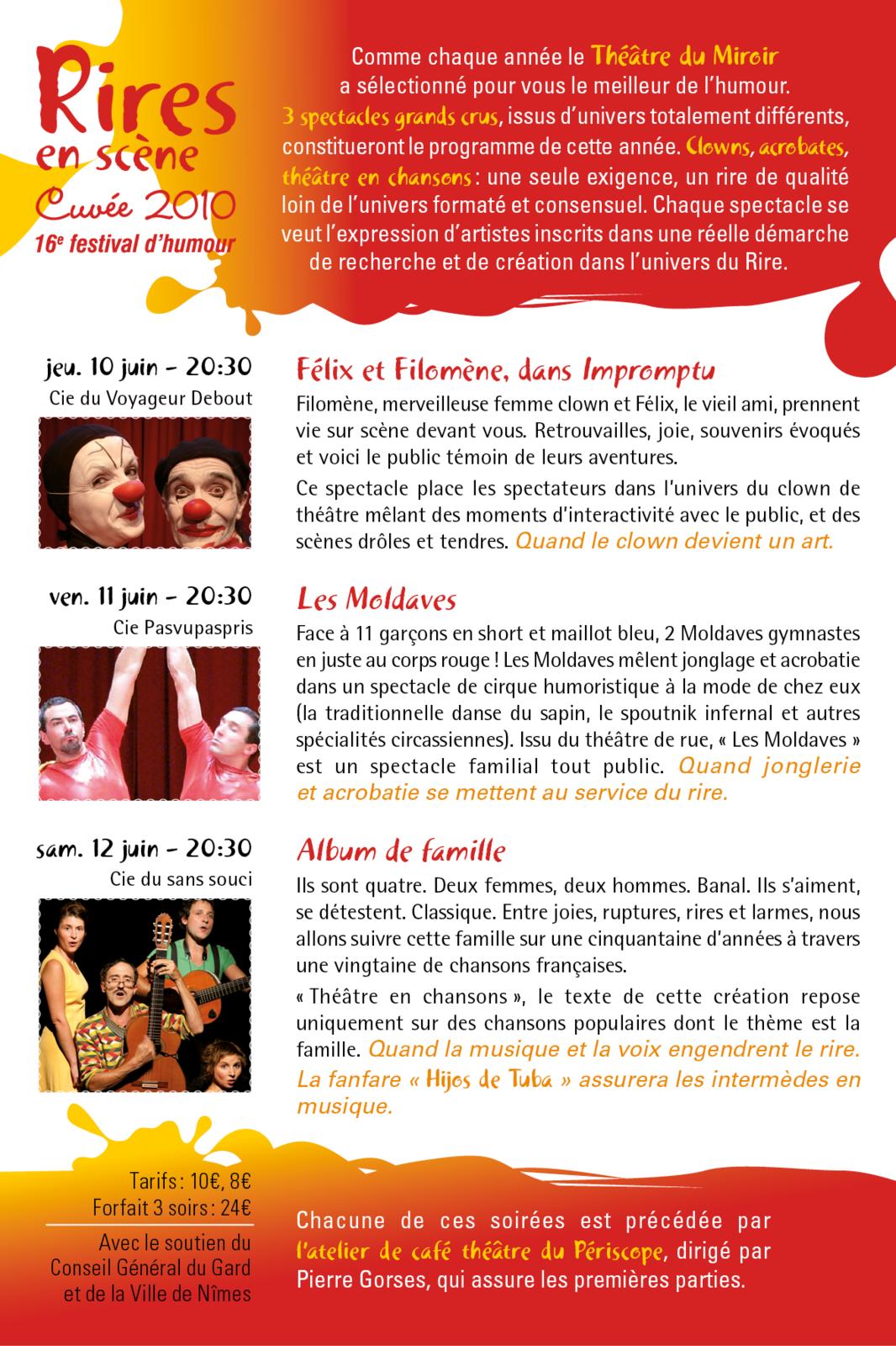Carte de communication festival de théâtre Nîmes
