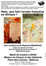 """26 Oct. : Conférence """"Mais que fait l'Armée française en Afrique"""""""
