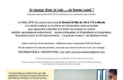 """Atelier """"les toxiques en cuisine"""" le 29 Mai 2021 à Mende"""