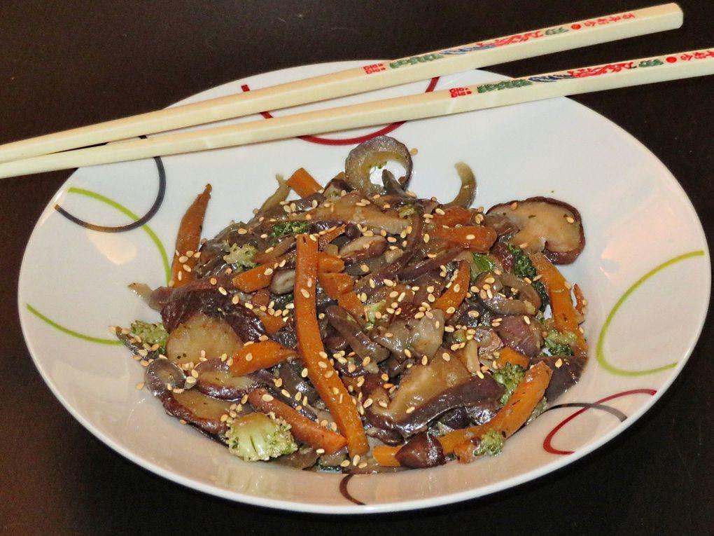 Wok de légumes aux champignons shiitake
