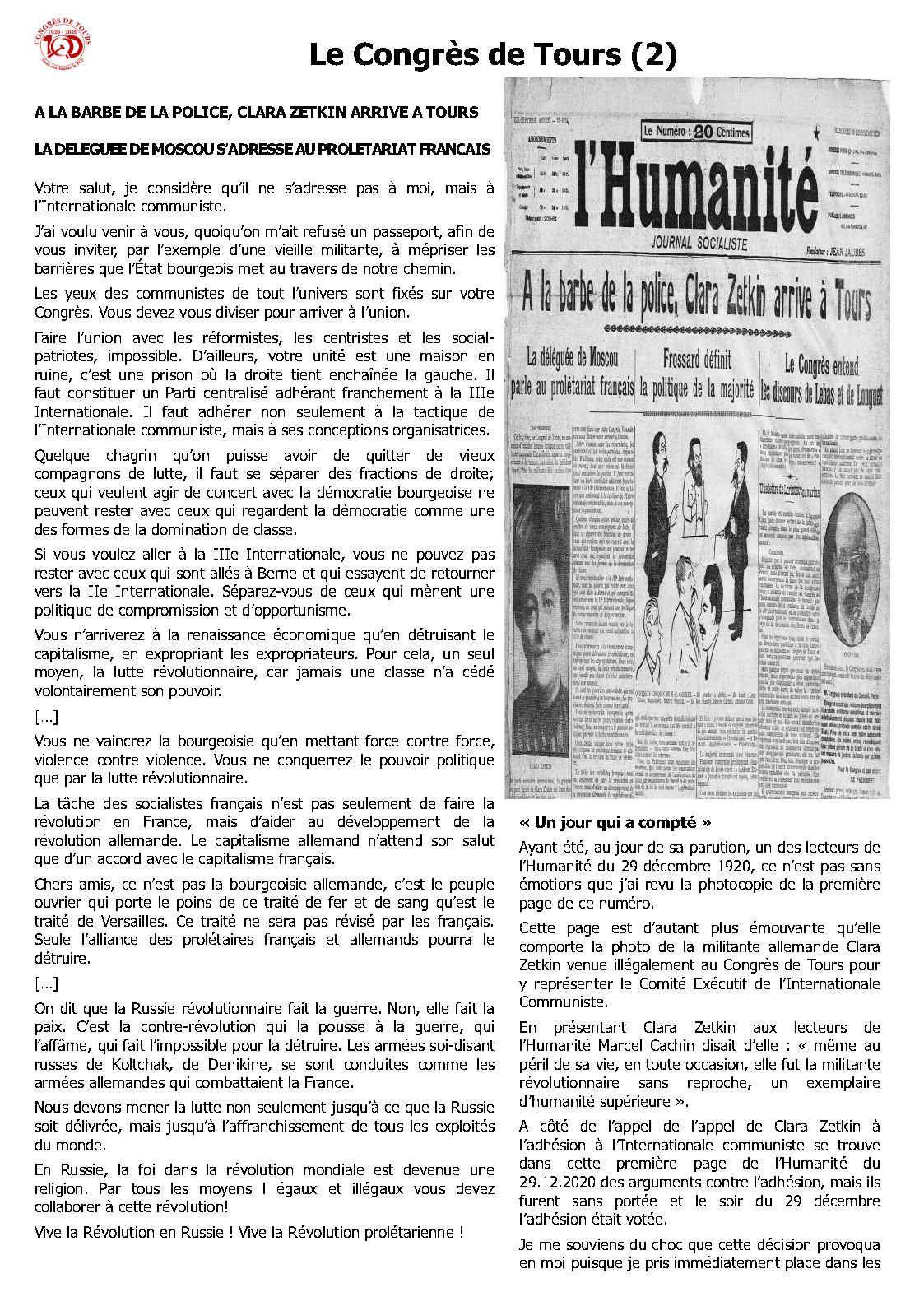 1920 - 2020. Congrès de Tours. 100 ans de lutte anticapitaliste - 5