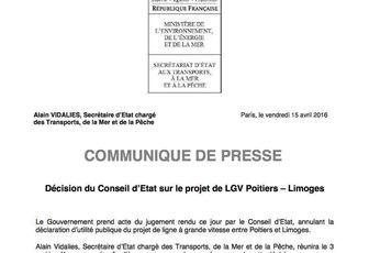 LGV : communiqué du Ministère de l'environnent, de l'énergie et de la mer