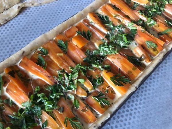 Tarte aux carottes nouvelles et cumin