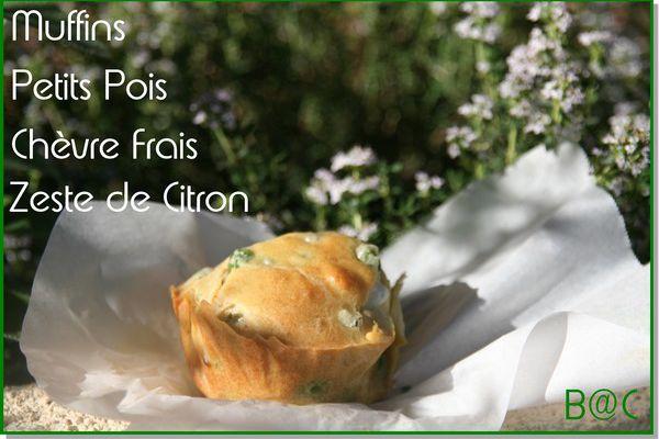 Muffins aux petits pois, chèvre frais et citron