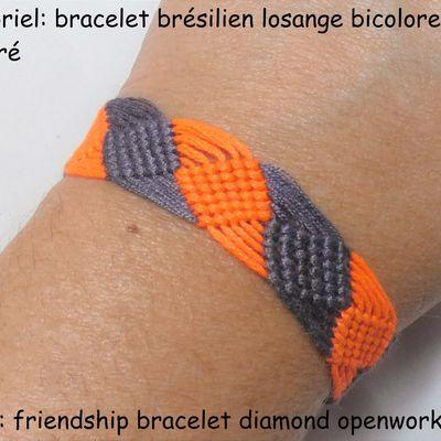 Tutoriel et patron: bracelet brésilien losange bicolore ajouré