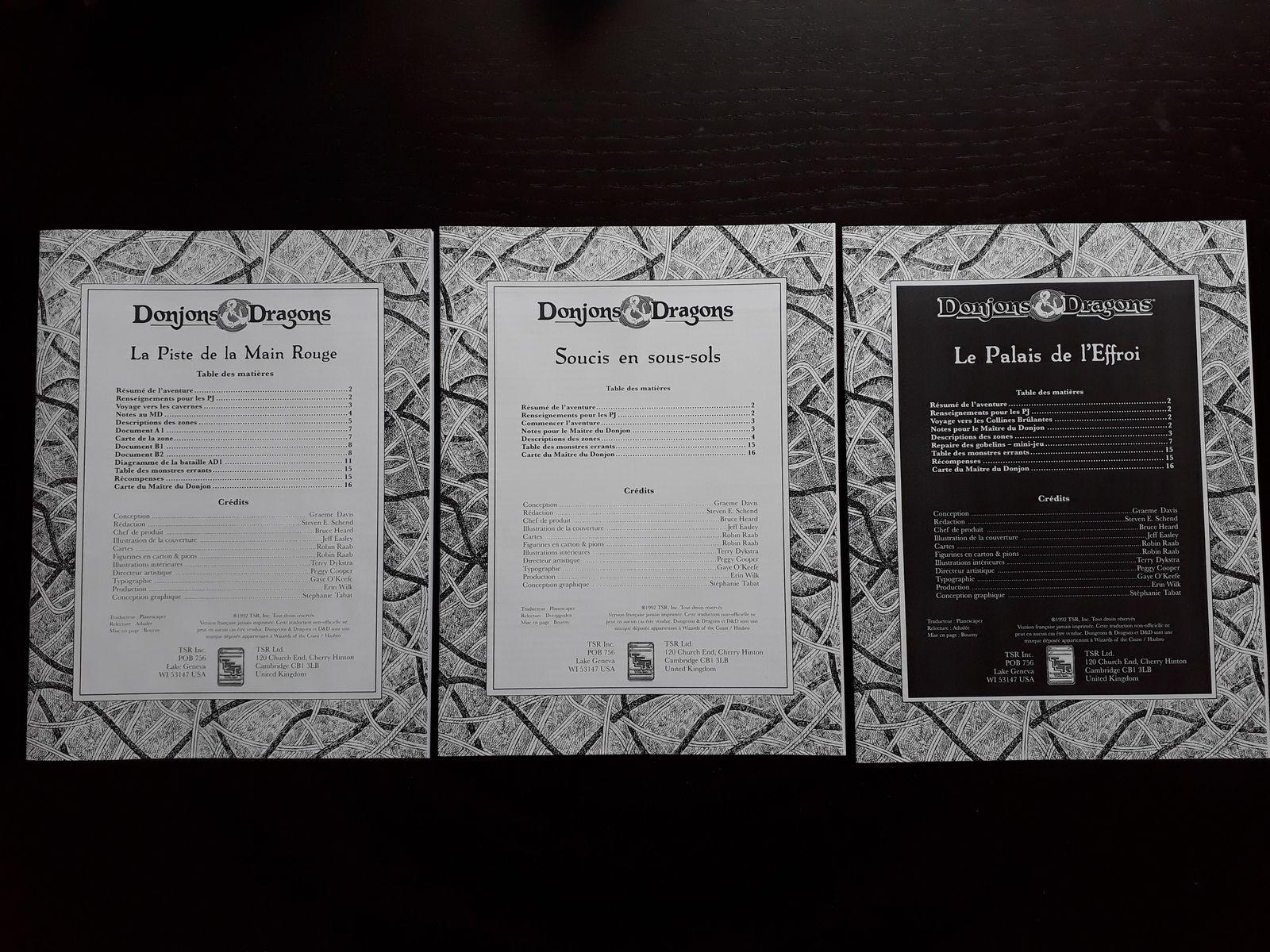 Les 3 livrets qui forment les aventures du Repaire des gobelins.