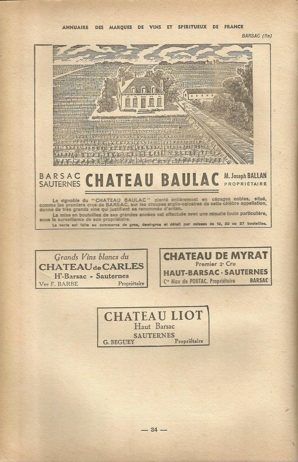 Le terroir de Barsac en 1941