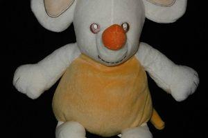 Doudou ,peluche souris orange verte blanche Kimbaloo La Halle, chapeau vert,