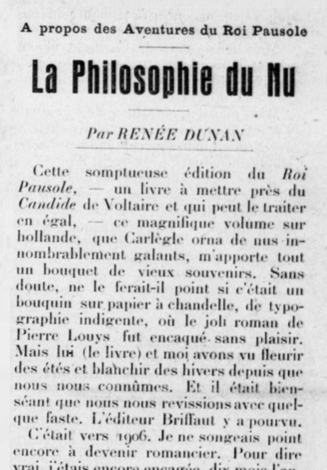 Renée Dunan - La Philosophie du Nu (1924)