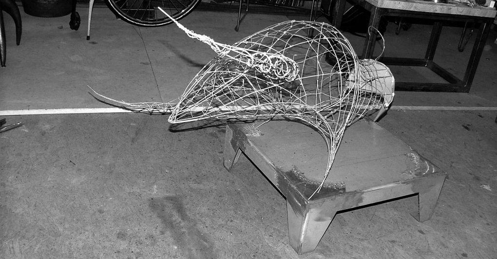 Sculpture acier + résine L90 l70 H45 Patine alu façon atelier de modelage du Louvre
