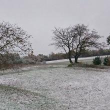 Une mince couche de neige.