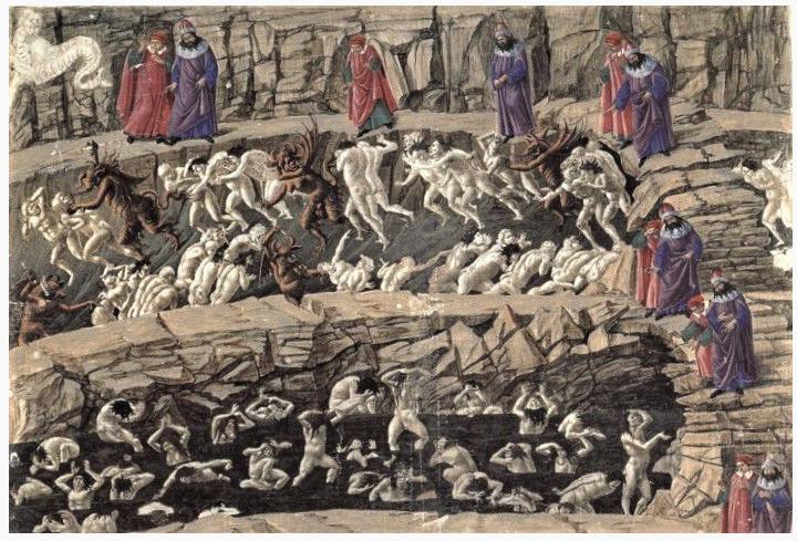 Illustration de la Divine Comédie de Dante par Botticelli