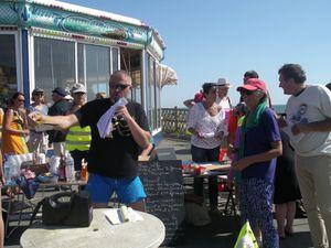 L'arrivée près de la Plage des Présidents aux Sables d'Olonne : à marée basse, on peut y admirer la prolifération des algues vertes