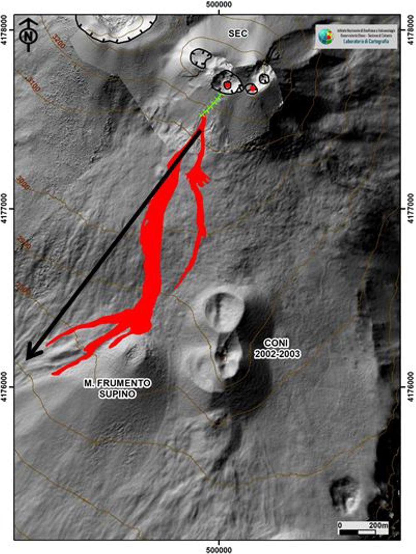 Etna  SEC -  lava flow map on 12/14/2020 - Doc. INGV OE