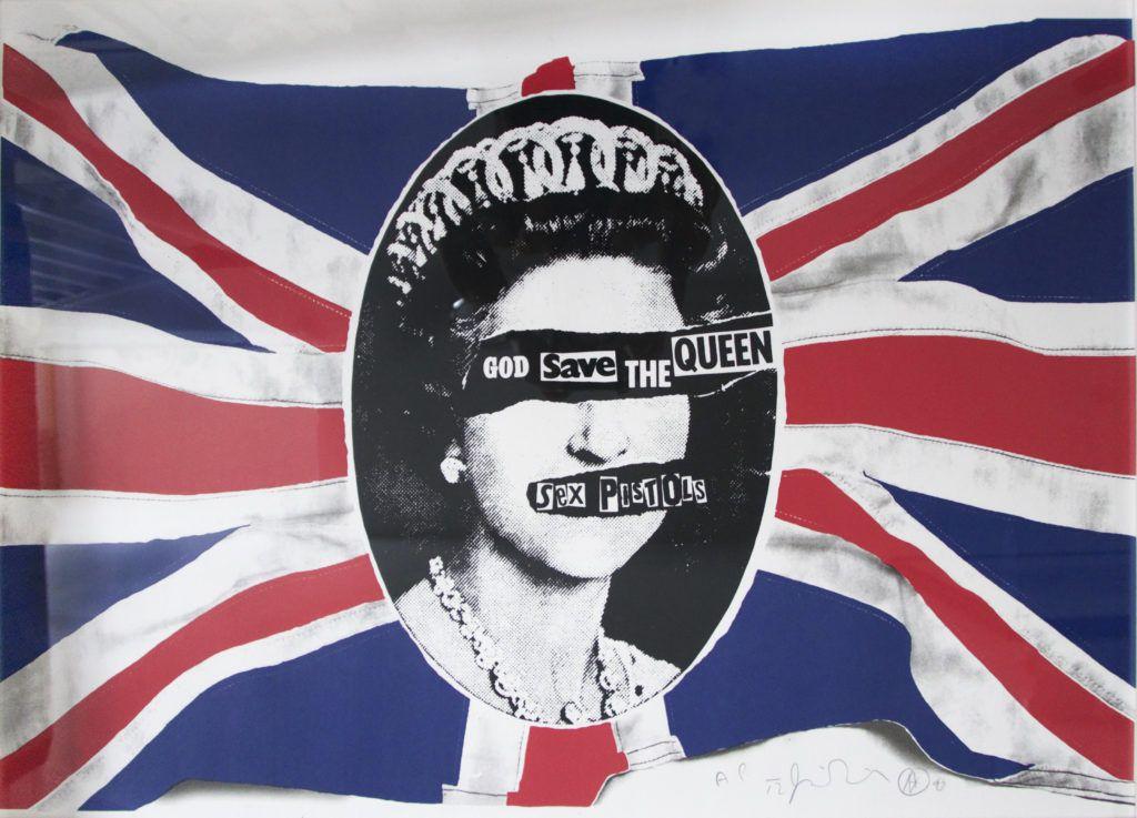 Jamie Reid, dont le style a défini l'esthétique de la culture punk-rock, a conçu cette affiche pour les Sex Pistols et leur single « God Save The Queen ». Cette image, incorporant le drapeau emblématique de l'Union Jack et le profil de la reine Elizabeth, a, comme le groupe, été inscrite dans l'histoire de la musique.