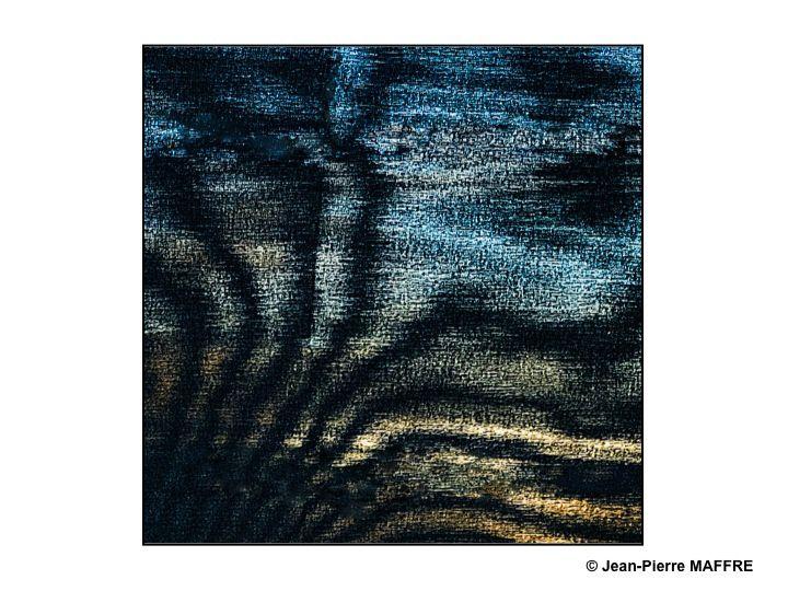 Vus à travers un tissu des formes aux reflets chatoyants dessinent, par transparence, un univers onirique.