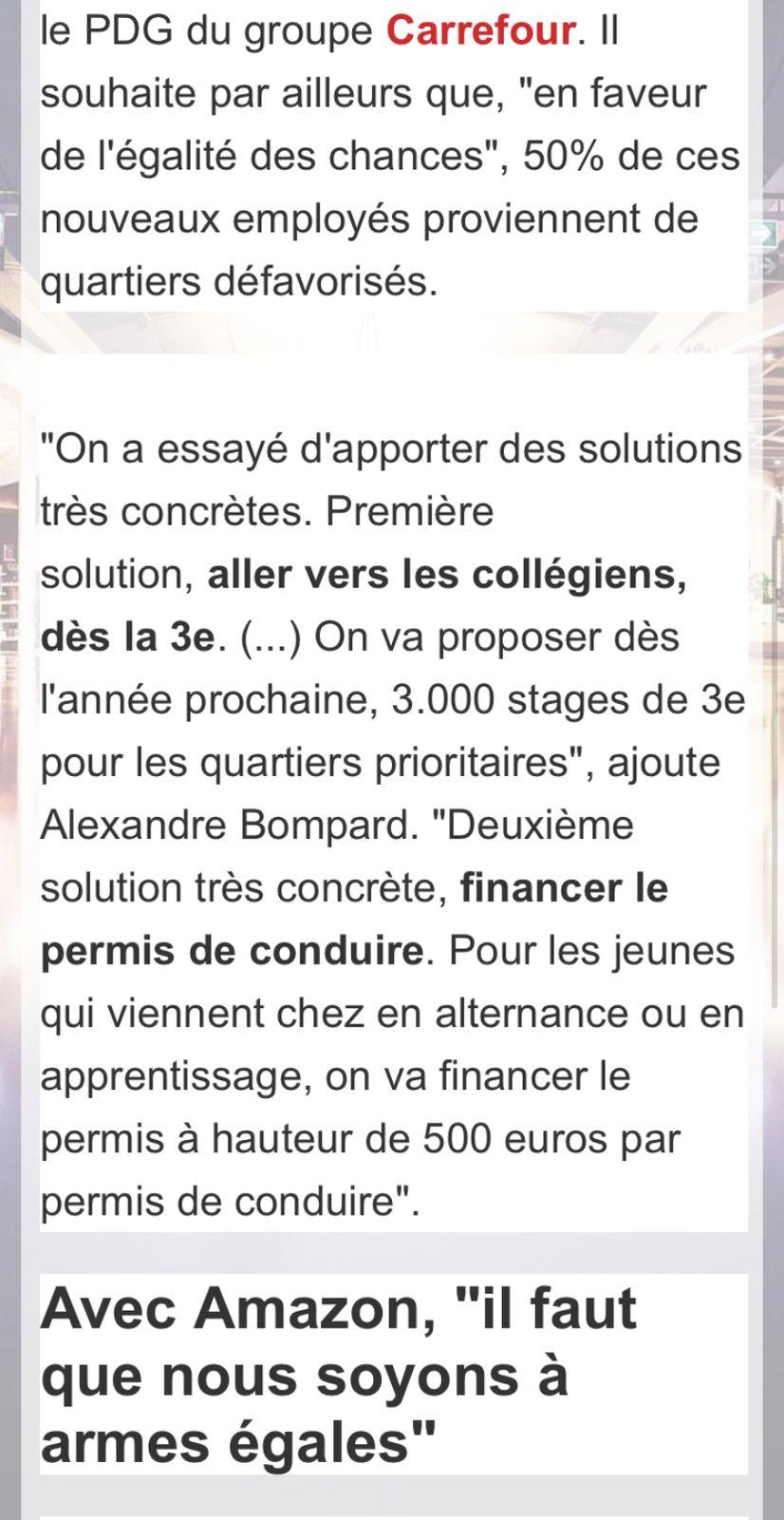 Carrefour «embauchera 15.000 jeunes en 2021 ,annonce son PDG Alexandre Bompard sur RTL
