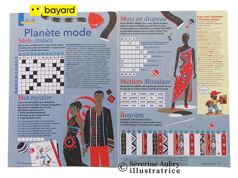 Illustrations pour double page de jeux presse sur la mode - Planète jeunes mag - Bayard (Afrique francophone) - 2007