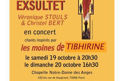 Concerts à Paris : Exultet, chants inspirés par les moines de Tibhirine, les 19 et 20 octobre 2019