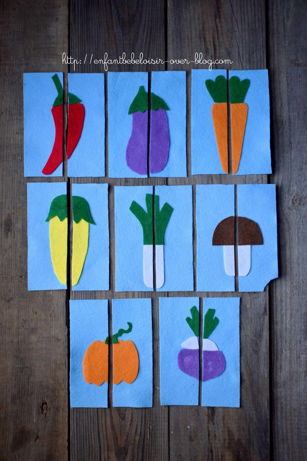 Cartes légumes en feutrine