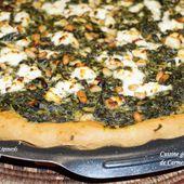 Pizza pâte à pide aux épinards chèvre frais et pignons - Cuisine gourmande de Carmencita