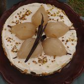 Gateau aux poires crème mascarpone,saveurs agrumes et pain d'épices IG bas