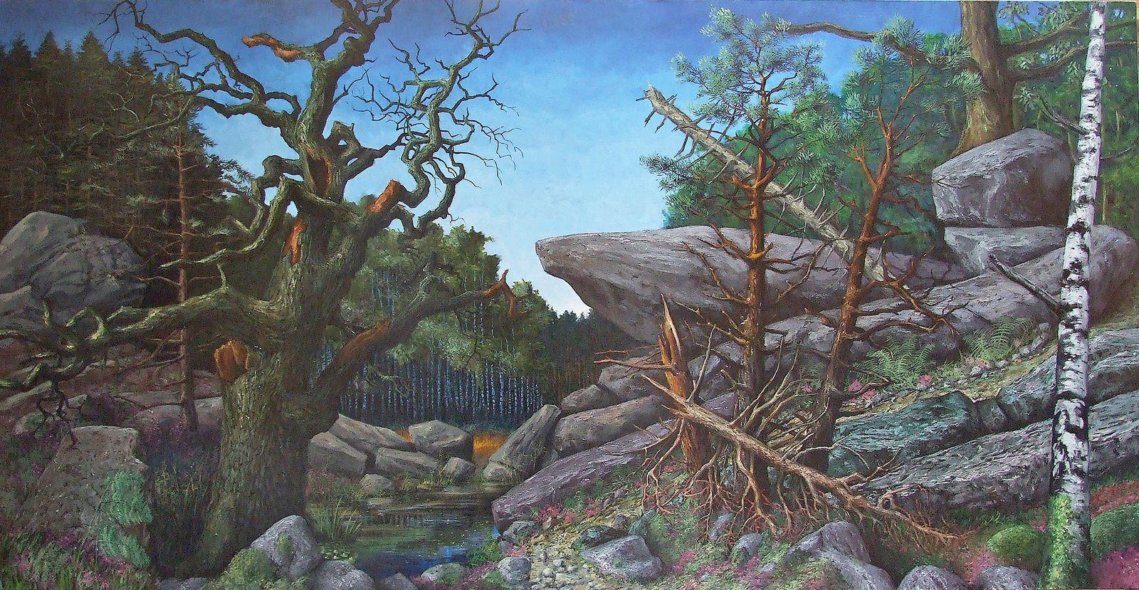 """""""Deux rochers, Fontainebleau"""" aquarelle sur papier 32x21 """"La forêt de Fontainebleau"""" Huile sur toile 113x230 Bhavsar"""