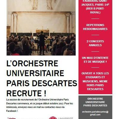 L'Orchestre Universitaire Paris Descartes recrute !