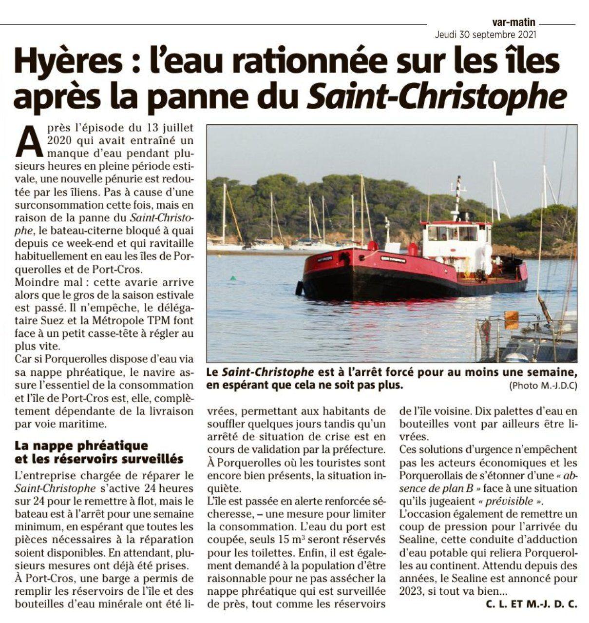 Restriction eau sur les îles d'Or dans la presse