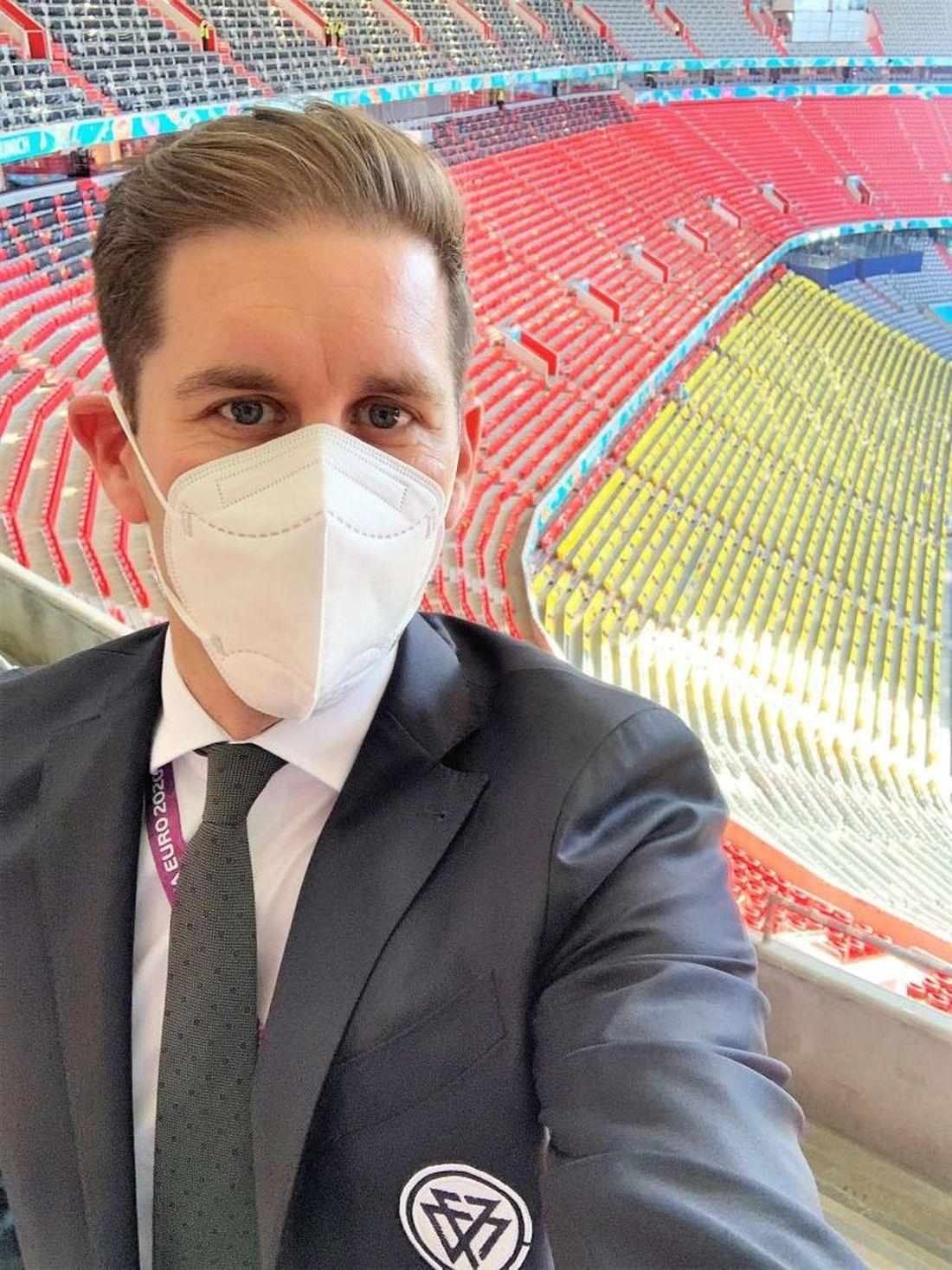En haut des tribunes de l'Allianz Arena de Munich, en Juillet 2021... Tristan Delafosse a dû faire face aux nombreux problèmes d'organisation liés à la pandémie.
