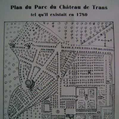 Le plan du parc du château de Trans tel qu'il existait en 1780