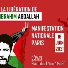 Manifestation nationale pour la libération de Georges Abdallah, le 19 juin 2021 à Paris
