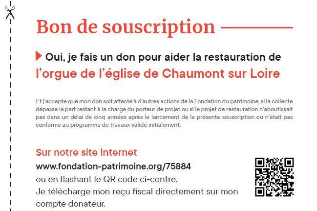 Participez  à la restauration de l'orgue de l'église de Chaumont sur Loire