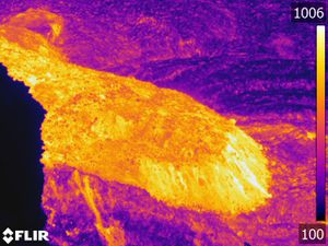 La Palma / Cumbre Vieja - thermal images of the lava platform in formation - Doc. InVolcan 29.09.2021 - one click to enlarge