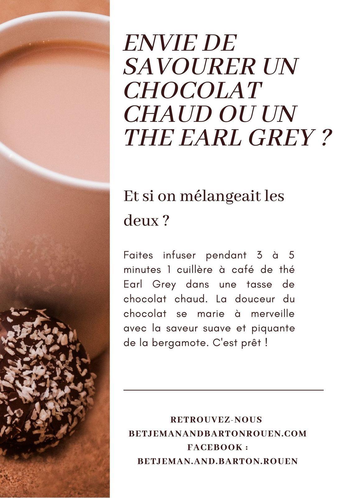 Chocolat chaud au thé Earl Grey